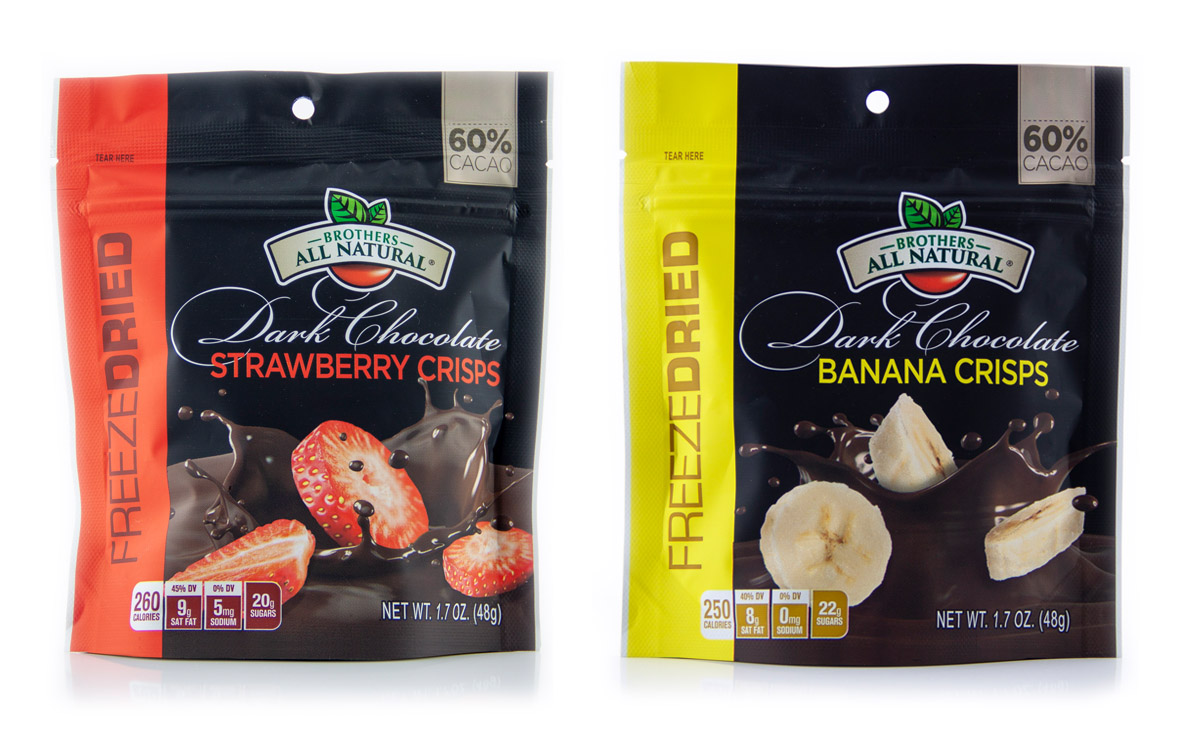 Brothers All Natural Launches Chocolate-Covered Freeze-Dried Strawberry/Banana Fruit Crisps